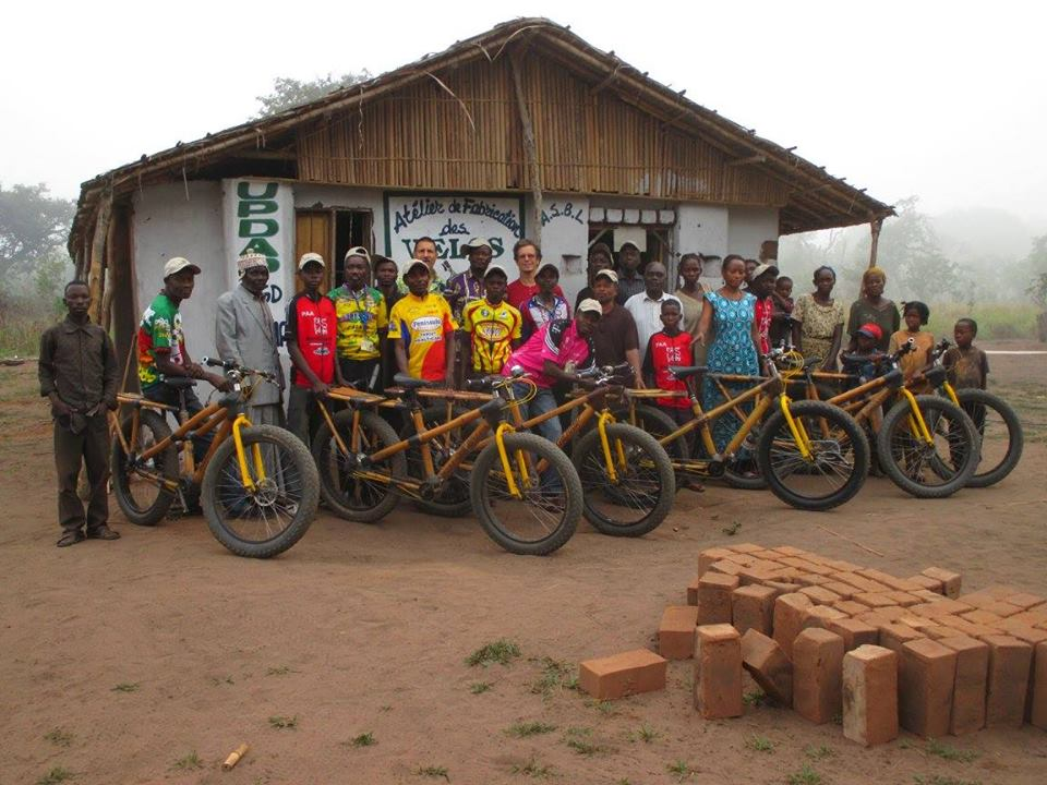 Team in front of the new workshop, Khoma, DRC